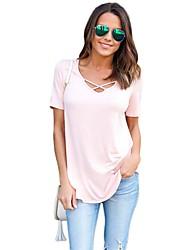 Tee-shirt Femme,Couleur Pleine Plage simple Manches Courtes Col Arrondi Coton