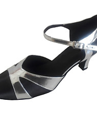 Women's Modern Dance Shoes Heel Closed Toe Ballroom Shoes Black/Silver Customizable