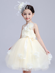Ball Gown Short / Mini Flower Girl Dress - Cotton Satin Tulle Jewel with Bow(s) Flower(s) Sash / Ribbon