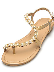 Women's Sandals Summer Comfort Leather Dress Casual Flat Heel Imitation Pearl Buckle