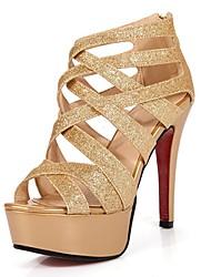 Damen-High Heels-Lässig-Lackleder-Stöckelabsatz-Fersenriemen-Gold Silber
