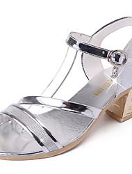Damen-Sandalen-Lässig-Lackleder-Block Ferse-Komfort-