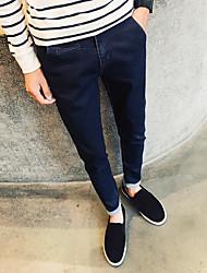 Men's High Rise Inelastic Jeans Pants,Simple Slim Solid