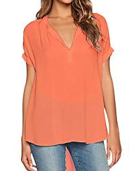 Damen Solide Einfach Lässig/Alltäglich Übergröße T-shirt,V-Ausschnitt Sommer Kurzarm Polyester Mittel