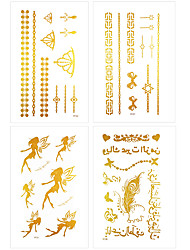 6Pcs Swallow Feather Design Women Leg Hand Body Arm DIY Gold Tattoo Stickers Waterproof Temporary Glitter Tattoo Sticker