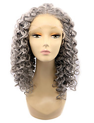 Grey Color Synthetic Lace Front Wigs Kinky Curly Heat Resistant Fiber Hair Curly Wig for Woman
