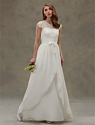 A-line Wedding Dress See-Through Floor Length Jewel Chiffon Lace with Lace Button