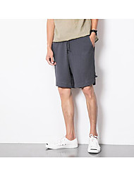 Men's Mid Rise strenchy Shorts Pants,Street chic Loose Solid