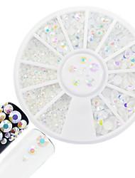 1pcs fashion mixed style strass nail art disque rond brillant blanc strass diy beauté brillant résine gelée décoration strass belle design