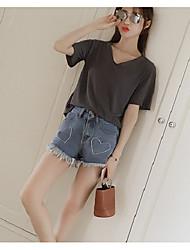 Femme simple Taille Haute Jeans Short Pantalon,Droite Couleur Pleine