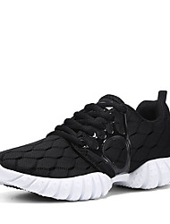 Feminino Tênis Conforto botas de desleixo Tule Primavera Outono Atlético Casual Corrida Conforto botas de desleixo Cadarço RasteiroPreto