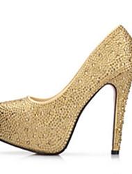 Золотистый-Женский-Свадьба Для вечеринки / ужина-Полиуретан-На платформе Каблук с хрустальной отделкой-Удобная обувь Оригинальная обувь-