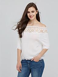 Women's Lace  Summer Lace Slash Neck Casual Crop Tops Short Sleeve T Shirts