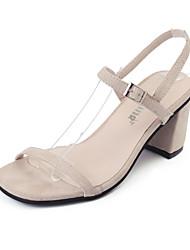 Women's Sandals Summer Gladiator Fleece Outdoor Dress Casual Chunky Heel Buckle Beige Black Walking