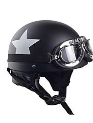 Motorcycle Helmets With Goggles Visor Vintage Motocross Half Face Helmet Carbon White Star 55cm-60cm For Harley kawasaki