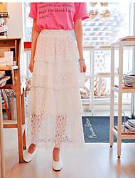 Femme Taille Haute Midi Jupes,Crochet Couleur Pleine