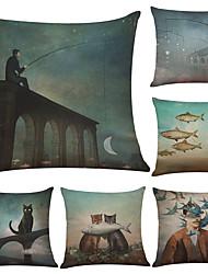 Set of 6 Cat Fish Pattern Linen Pillowcase Sofa Home Decor Cushion Cover  Throw Pillow Case (18*18inch)
