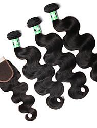 Tissages de cheveux humains Cheveux Indiens Ondulation naturelle 18 Mois 4 Pièces tissages de cheveux