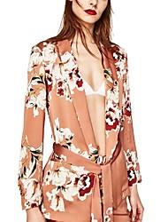 Для женщин На каждый день Вечеринка/коктейль Весна осень Пальто Рубашечный воротник,Секси Цветочный принт Длиные Длинный рукав,Акрил,