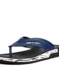 Masculino-Chinelos e flip-flops-Solados com LuzesPreto Azul Real-Couro Ecológico-Casual