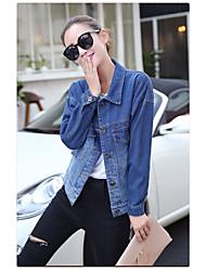 Feminino Jaqueta jeans Casual Simples Primavera,Sólido Padrão Poliuretano Decote Redondo
