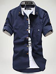 Men's Casual/Daily Simple Summer Shirt,Solid Button Down Collar Short Sleeves Cotton Acrylic Medium