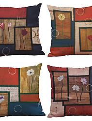 Set of 4 Geometric European Flower Pattern  Linen Pillowcase Sofa Home Decor Cushion Cover
