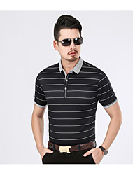 Men's Casual/Daily Simple T-shirt,Striped Stand Short Sleeve Cotton Bamboo Fiber