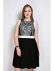 Really Love Women's Plus Size Work Party Sexy Vintage Street chic A Line Sheath Lace Dress,Color Block Round Neck Midi Sleeveless Cotton PolyesterAll