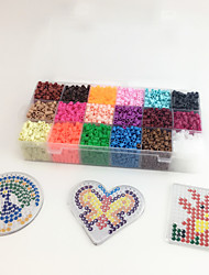 Approx 5400PCS 18 Color 5MM Fuse Beads Set with 3PCS Random Mixed Shape Template Clear Pegboard Heart Hexagram DIY Jigsaw(Set B  18*300PCS)