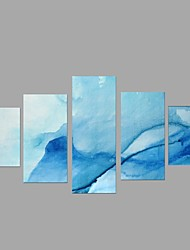 HD Print Abstract Blue Seascape Painting Wall Art 5pcs/set Home Office Decor (No Frame)