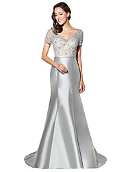Formal Evening Dress Trumpet / Mermaid V-neck Sweep / Brush Train Satin with Beading
