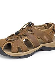 Men's Sandals Summer Comfort Nappa Leather Outdoor Flat Heel Khaki Dark Brown Light Brown Green
