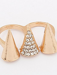 Euramerican  Fashion Gold Women's  Rhinestone  Three Pyramidal Cuff  Double Ring Movie Jewelry