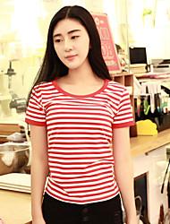 Tee-shirt Femme,Rayé Décontracté / Quotidien simple Eté Manches Courtes Col Arrondi Coton Moyen