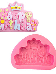 English Decorative Crown Happybirthday Liquid Silicone Double Sugar Cake Mould