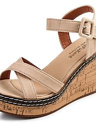 Women's Sandals Comfort Cashmere Summer Casual Walking Comfort Buckle Wedge Heel Black Green Almond 3in-3 3/4in