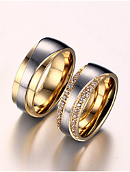 Couple's Couple Rings AAA Cubic Zirconia Imitation Diamond Love Bridal Costume Jewelry Zircon Titanium Steel Gold Plated Love Jewelry For