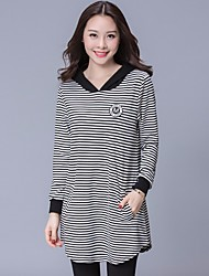 Women's Going out Casual/Daily Simple T Shirt Dress,Striped Hooded Asymmetrical Long Sleeve Cotton Others Spring Fall Mid Rise