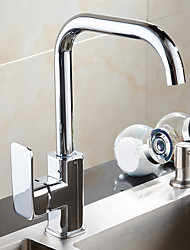 Traditional Standard Spout Bar/Prep Deck Mounted Rotatable with  Ceramic Valve Single Handle One Hole for  Chrome , Kitchen faucet