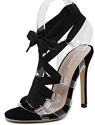 Women's Heels Summer Ankle Strap PU Casual Stiletto Heel