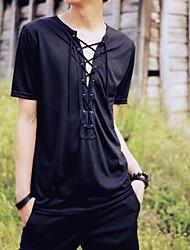 Tee-shirt Homme,Couleur Pleine Décontracté / Quotidien simple Manches Courtes Col Arrondi Coton