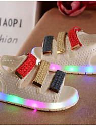 Girls' Baby Sandals Comfort PU Spring Fall Casual Comfort Flat Heel White Black Ruby 1in-1 3/4in