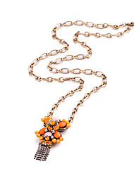 Women's Pendant Necklaces Crystal Chrome Tassel Euramerican Personalized Adorable Simple Style Orange Jewelry ForWedding Party