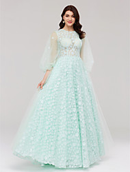 Formal Evening Dress - See Through A-line Jewel Floor-length Lace Tulle with Flower(s) Bandage