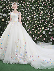 Princess Bateau Royal Length Train Lace Organza Tulle Wedding Dress