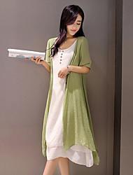 Ample Robe Femme Décontracté / Quotidien Vintage simple Chinoiserie,Couleur Pleine Col Arrondi Mi-long Demi Manches Rayonne Polyester
