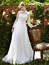 2017 LAN TING BRIDE A-line Wedding Dress - Elegant & Luxurious Floral Lace Court Train High Neck Lace with Lace