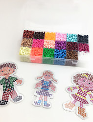Approx 5400PCS 18 Color 5MM Fuse Beads Set with 3PCS Random Mixed Shape Template Clear Pegboard Family Parent Children DIY Jigsaw(Set B 18*300PCS)