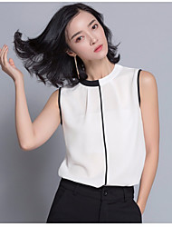 Women's Casual/Daily Simple Blouse,Solid Crew Neck Sleeveless Silk